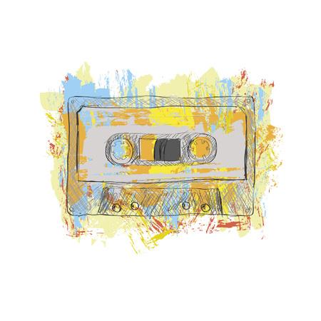 Grunge stereo tape cassette - vector illustration