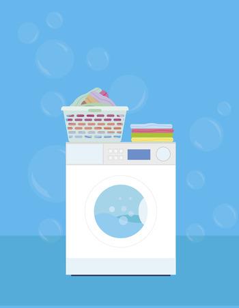 Wasmachine met een mand van wasserij op een blauwe achtergrond - vector illustratie