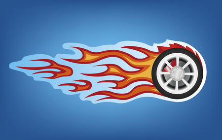 raging: Vector red flames tunning car style on blue