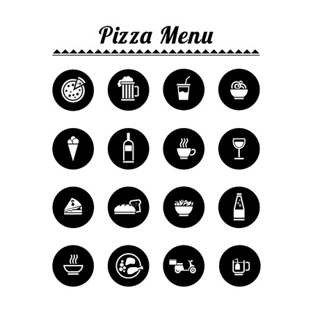 toasted sandwich: Flat vector icons for your restaurant - pizza menu