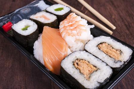 bento box: sushi box or bento box with assorted sushi pieces