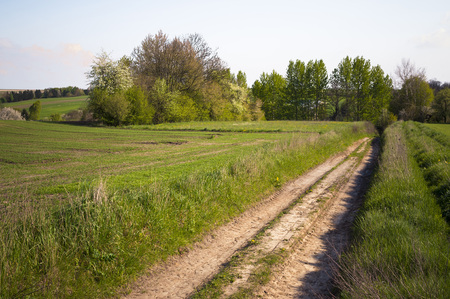 Beautiful landscape with plowed fields and rural road. Agriculture of Poland.