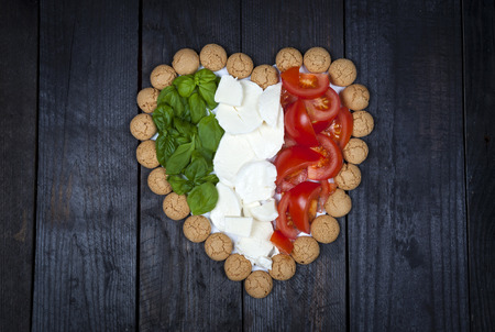 I love Italy - food composition in the colors of the Italian