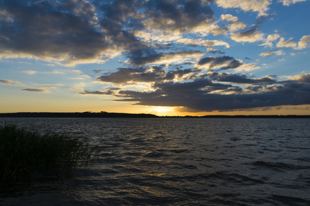 Landscape after sunsetof lake in Mazury district - Rybitwy village Stock Photo
