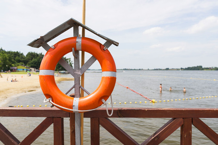 lifeguard equipment in  water Stock Photo