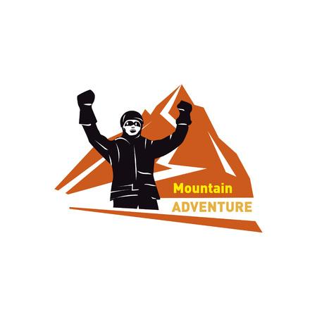 Mountain exploration vector emblem - outdoor activity symbol