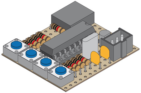 microcontroller: microcontroller project with electronic parts Illustration