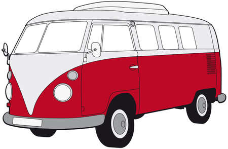 volkswagen: lineart of a retro van