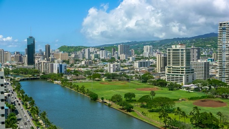 urban: Tropical urban tourist city honolulu hawaii Stock Photo