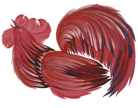 painted in bright beautiful cock gouache paints on white background with natural brushes