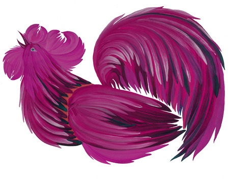 natural cock: painted in bright beautiful cock gouache paints on white background with natural brushes Ukraine