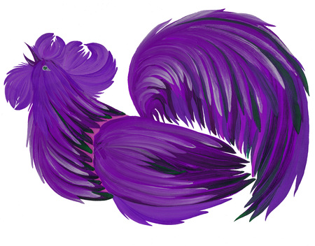 painted in bright beautiful cock gouache paints on white background with natural brushes Ukraine