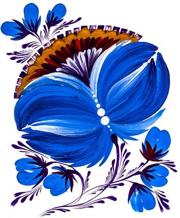 petal: isolated decorative bright painted flowers gouache paints