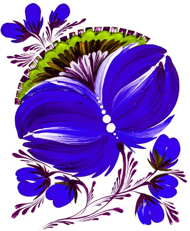 isolated decorative bright painted flowers gouache paints