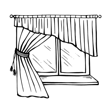 Painted beautiful window with sill tulle and curtains isolated on white background