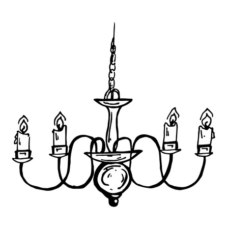 old pc: graphically painted silver candlestick isolated on white background Illustration