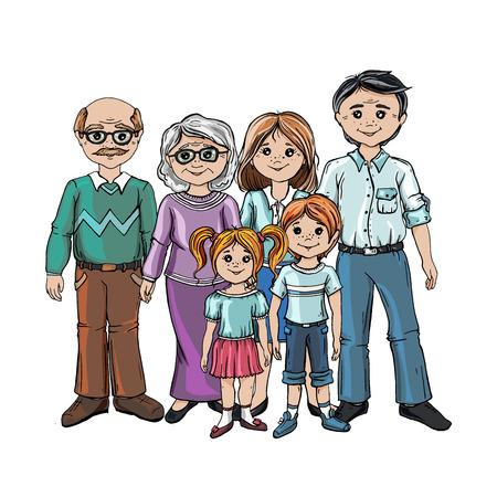 Famille ensemble. Groupe de personnes debout. Petit garçon, adolescente, femme, homme, vieil homme, femme âgée, chat, chien. Bonne famille élargie. Bonne famille élargie gesticulant avec un sourire joyeux. Vecteurs