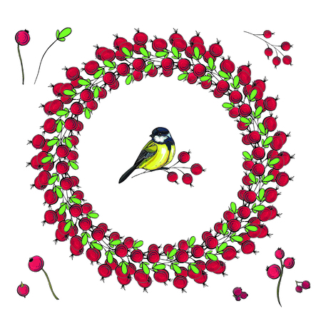 Bright vector floral wreath with leaves and berries isolated on white background.