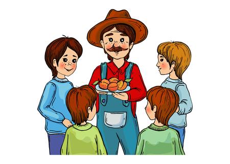 peasant with boys Vektoros illusztráció