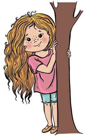 illustration vectorielle mignonne de personnages de dessins animés. Fille garçon.