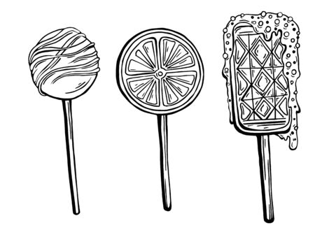 A series of vector graphic sweets, caramels, and lollipops. 矢量图像