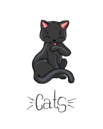 Painted set of black cats in different poses.