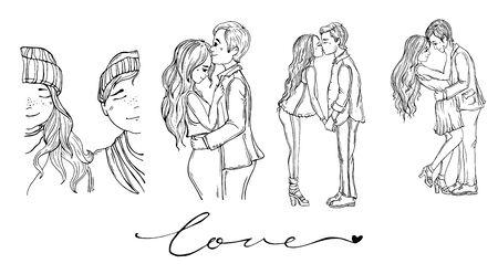 set love couples Reklamní fotografie