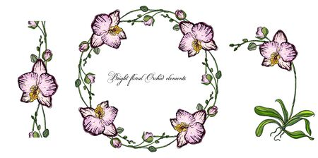 Bright floral Orchid elements for design. Romantic collection Ilustrace