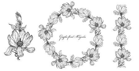 Bright floral Magnolia elements for design. Romantic collection