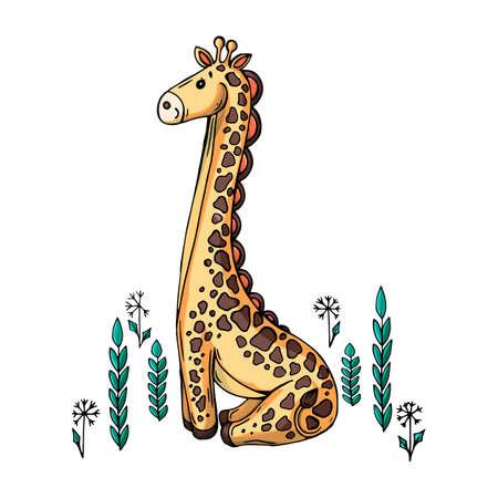 Vector color cartoon illustration of a giraffe.