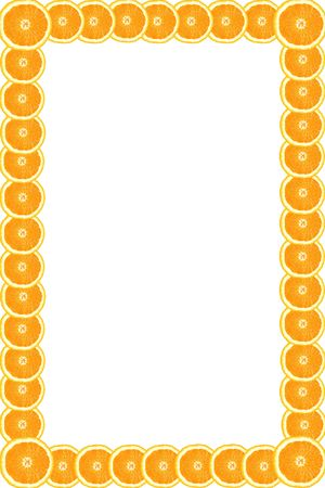 Oranges cut in the form of circles form an original border photo