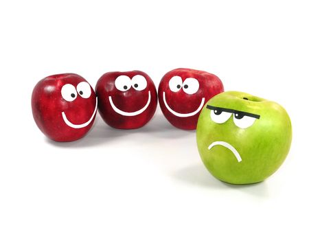 differing: Apples-smilies symbolise themselves a difference between a command and the single