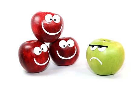 command: Apples-smilies symbolise themselves a difference between a command and the single