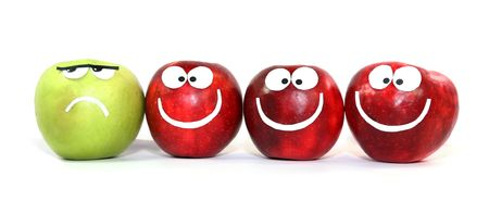 differing: Apples-smilies symbolise themselves difference of one from the others