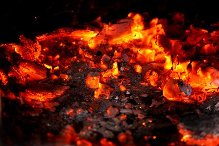 coals: coals in the furnace Stock Photo