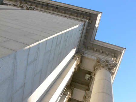 Shot of part of an old bank building in Winnipeg, taken from the bottom up. Stock Photo