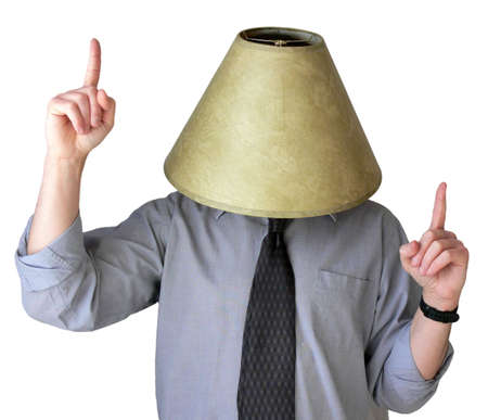 drunk party: Businessman dancing around with a lampshade on his head. Stock Photo