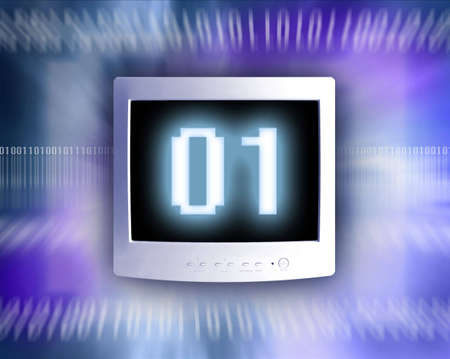 Computer monitor with the digits 01 on it, against an abstract blue background.