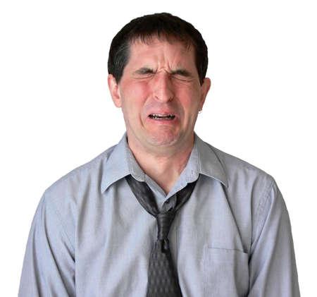sgomento: Uomo daffari con il legame undone, gridando. Archivio Fotografico