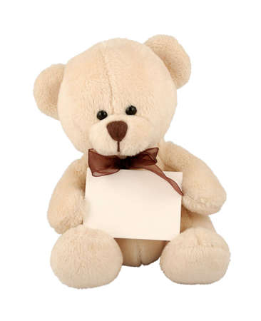 Cute teddy bear with sign. Stock Photo - 721410