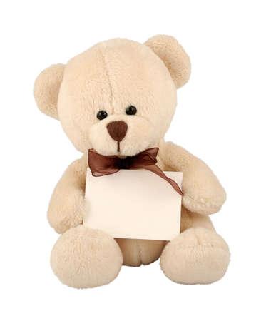 Cute teddy bear with sign.
