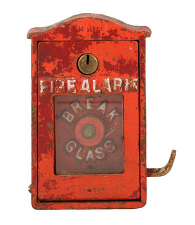 Old, worn fire alarm box.