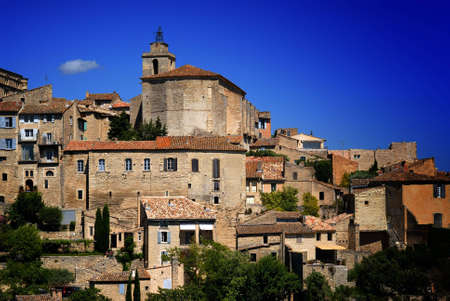gordes: View of ancient medieval hilltop town of Gordes in France