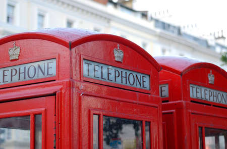 Detail of red phone booths in London, England