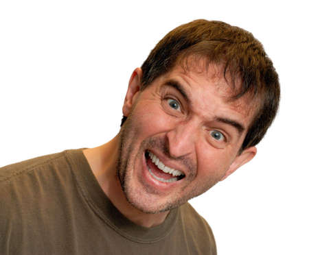 Isolated shot of an excited man smiling enthusiastically.