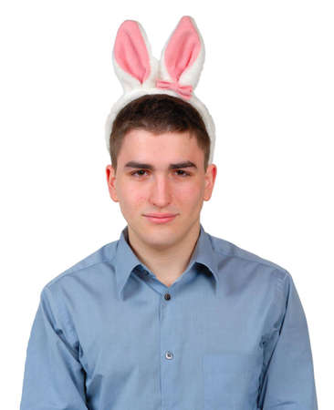Young man wearing dress shirt with Easter Bunny ears