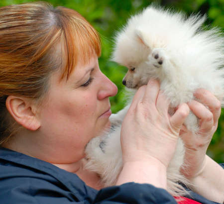Woman holding an adorable white pomeranian puppy, nose to nose.