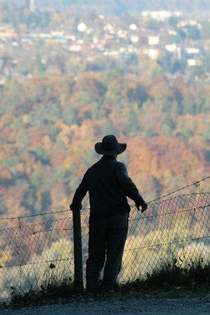 Silhouette of a man contemplating a forest and encroaching development, in Fall.