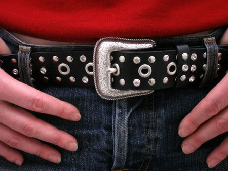 buckle: close up of belt and buckle on jeans Stock Photo