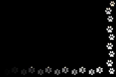 animal paw prints on black background